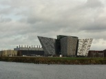 Much of Game of Thrones is shot in the Titanic Studios (back left), just behind the Titanic museum (front right) in Belfast.